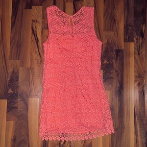 Hollister Coral 100% cotton embroidered dress